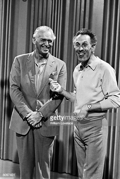 American actor Douglas Fairbanks Junior with British entertainer Bruce Forsyth before an appearance on the Bruce Forsyth Show.