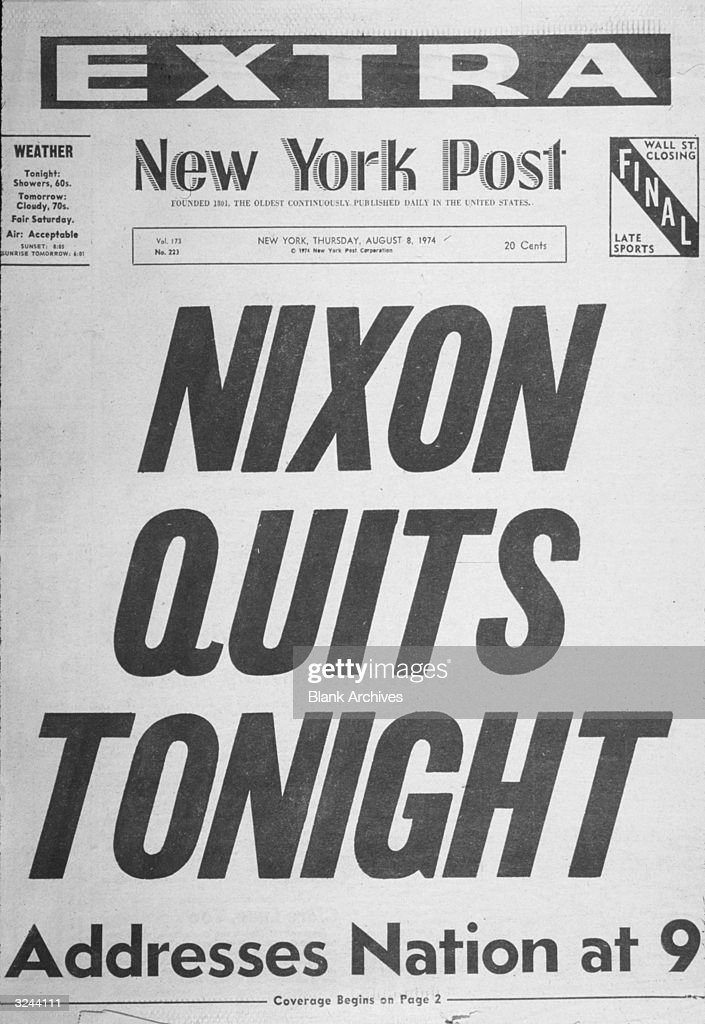 View of the cover of an Extra edition of the New York Post from the day US president Richard Nixon resigned, with the headline, 'NIXON QUITS TONIGHT'.