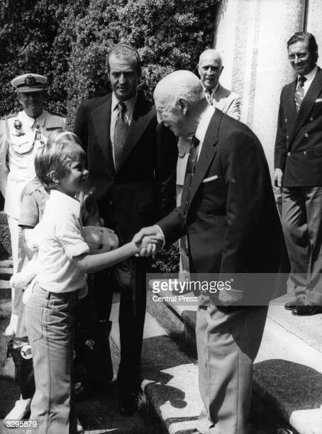 Spanish dictator General Francisco Franco welcomes Prince Felipe and his father Prince Juan Carlos to his house at Pazo de Meiras