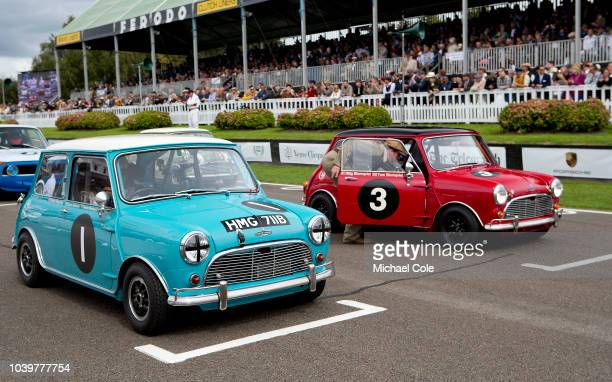 Blue 1964 Austin Mini Cooper S driven by Richard Meaden and red 1963 Austin Mini Cooper S driven by Stig Blomqvist on the Starting Grid for the St...