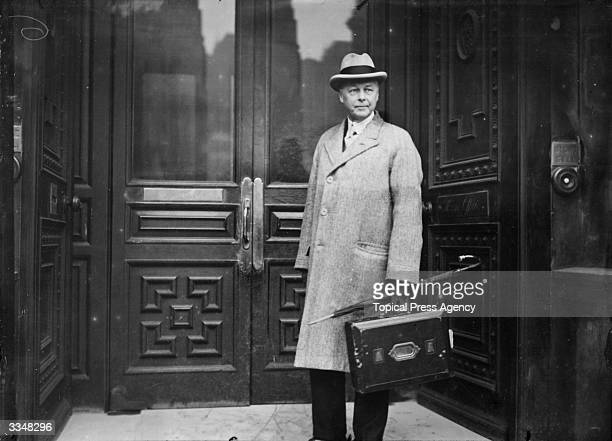 British politician Sir William Joynson-Hicks, later 1st Viscount Brentford, arriving at the Home Office while Home Secretary.