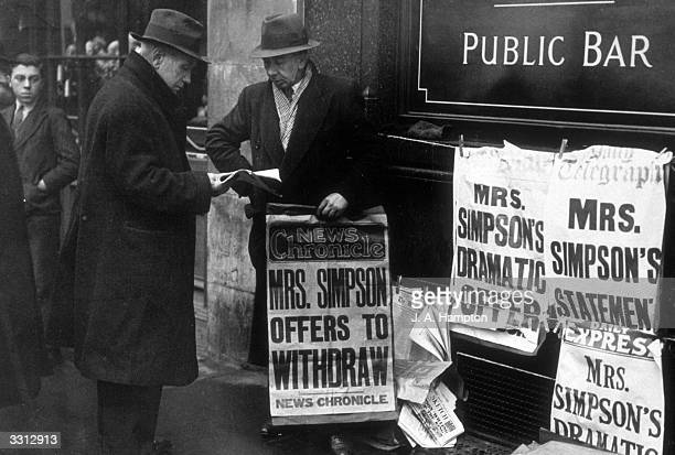 Latest newspaper editions on sale with up to date news of Edward VIII's abdication