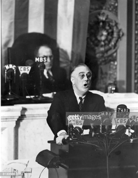 American President Franklin Roosevelt addressing Congress