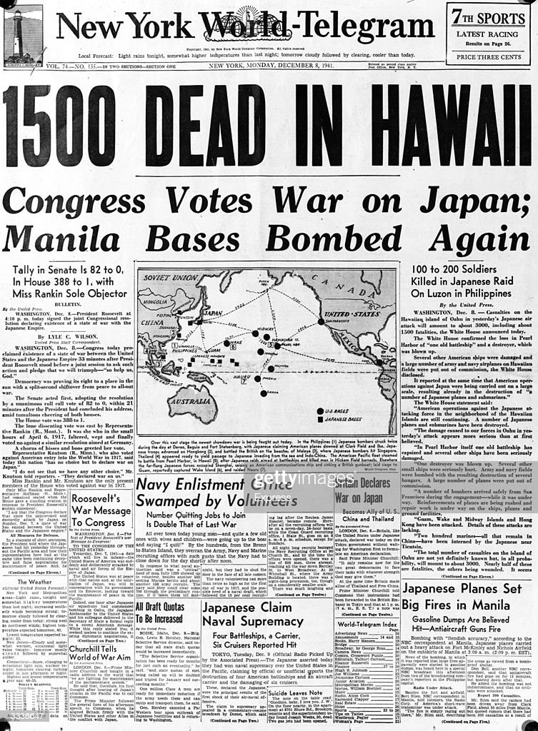 The front page of the 'New York World Telegram', with the headline, '1500 dead in Hawaii', referring to the Japanese air attack at Pearl Harbour (Pearl Harbor) on the Hawaiian island of Oahu.