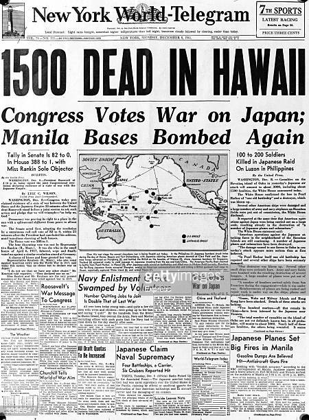 The front page of the 'New York World Telegram' with the headline '1500 dead in Hawaii' referring to the Japanese air attack at Pearl Harbour on the...