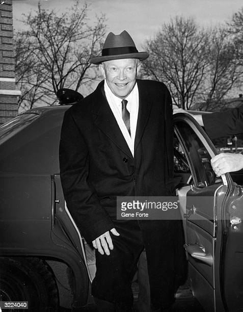 Former president Dwight D Eisenhower arrives at Walter Reed Hospital to have an operation performed on his gall bladder Washington DC