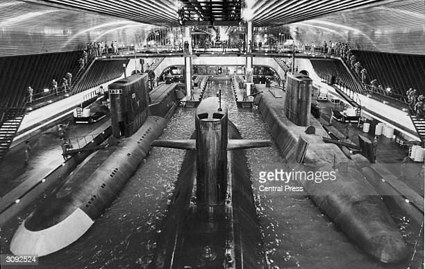 Submarines at the world's largest film set at Pinewood Studios near London built for the James Bond film 'The Spy Who Loved Me'