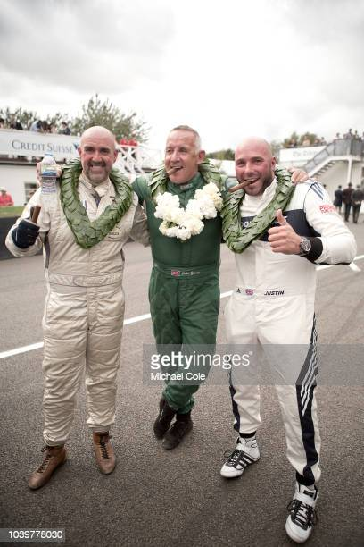 End of the Jack Sears Memorial Trophy race on the Grid Grant Williams John Young and Justin Law at the 20th anniversary of the Goodwood Revival at...
