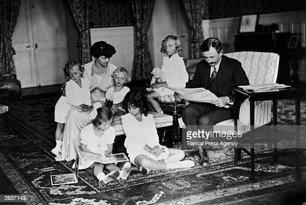 Emperor Karl I of Austria , the last of the Habsburg emperors, in Switzerland with his wife and children. He reigned as King of Hungary from 1916 to...
