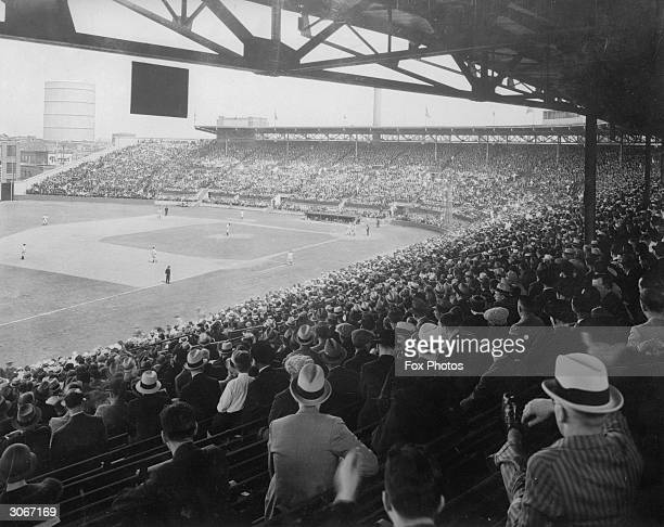 A baseball match at the crowded Montreal Stadium