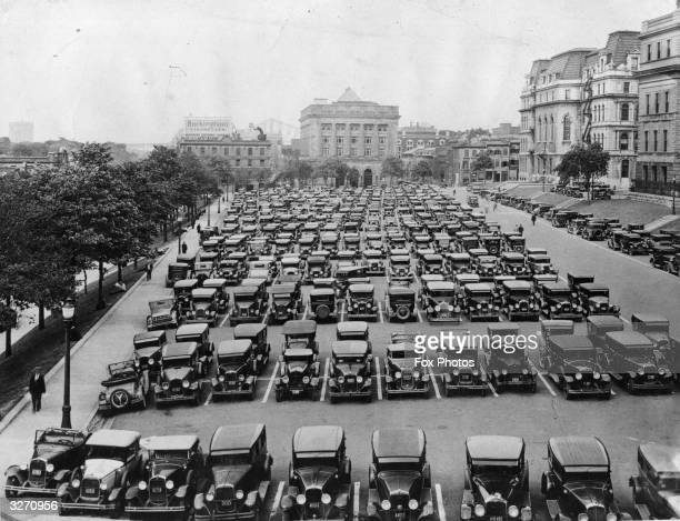 Cars parked in the Champ de Mars Montreal