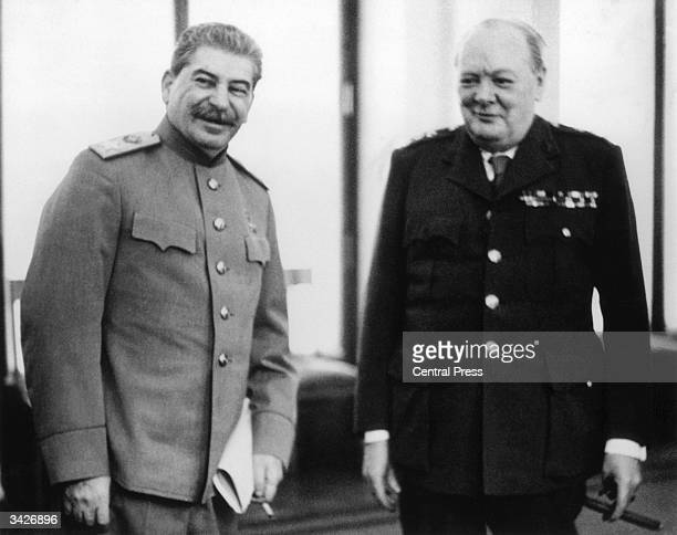 Marshal Joseph Stalin and Winston Churchill together at the Livedia Palace in Yalta where they were both present for the conference