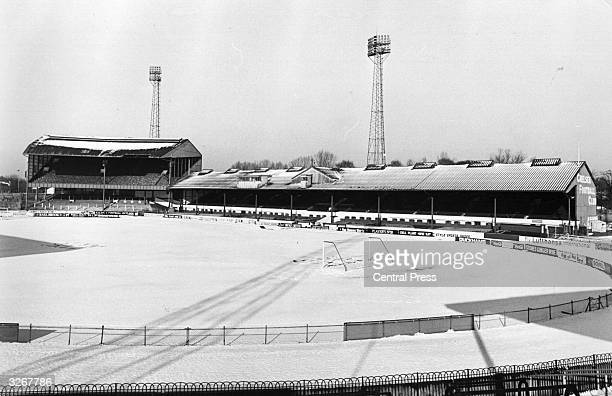 Chelsea FC's ground at Stamford Bridge lies covered with snow