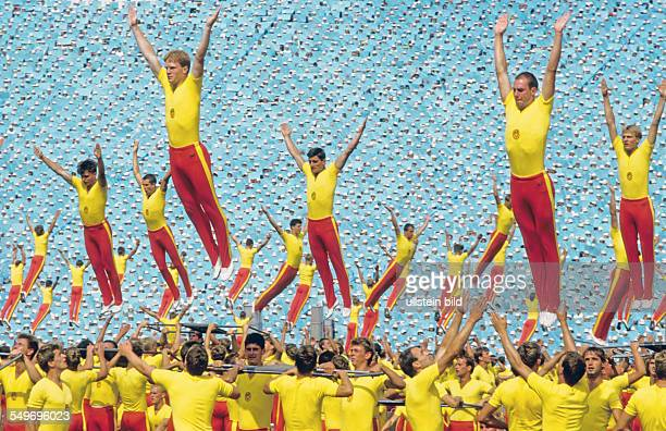 8th GDR Gymnastics and Sports Festival and Spartaciade in Leipzig Final rehearsal of the propagandistic staging of the opening or closing event in...