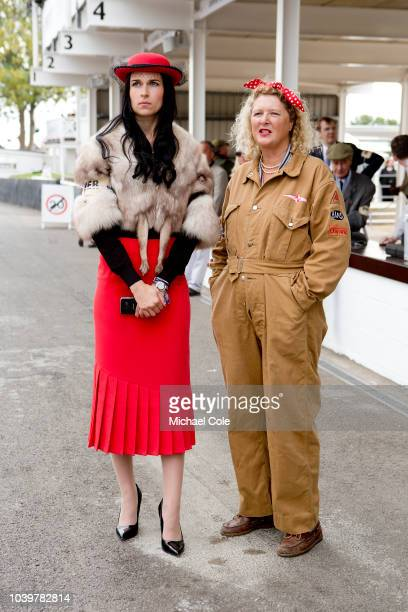 Girlfriend of Grant Williams driver of 'BUY 1' Jaguar Mk 1at the 20th anniversary of the Goodwood Revival at Goodwood on September 8th 2018 in...