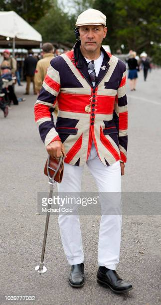 GRRC member sporting Union Jack blazer in the Paddock area at the 20th anniversary of the Goodwood Revival at Goodwood on September 8th 2018 in...
