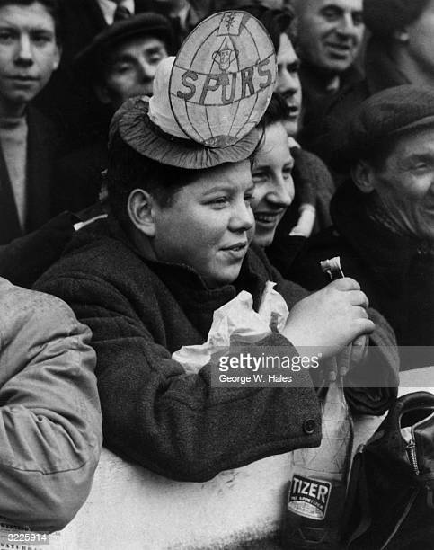 This young Spurs fan took his lunch with him to Highbury where he was among the many thousands of spectators to watch Arsenal FC play Tottenham...