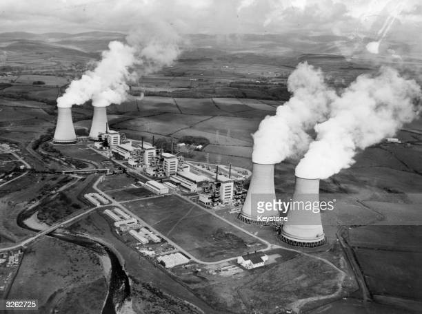 An aerial view of Calder Hall Britain's first nuclear power station and the first in the world to produce electricity on a full commercial scale It...