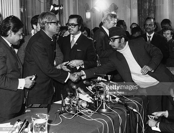 Sheik Mujibur Rahman Bangladesh leader in London having been released from prison in West Pakistan shaking hands with well wishers