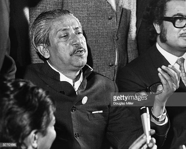 Sheikh Mujibur Rahman the Bangladesh leader in London at a press conference after he had been released by president Yahya Khan in Pakistan