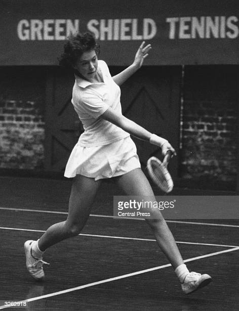 British tennis player Jo Durie in action against Anthia Cooper at the Green Shield British Indoor Junior Tennis Championships at Queen's Club