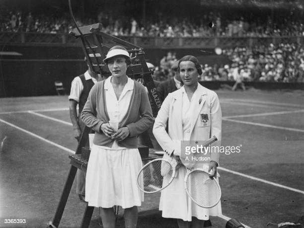 Britain's Dorothy Round and Helen WillsMoody of the USA on court before the women's singles final at the Wimbledon Lawn Tennis Championships which...