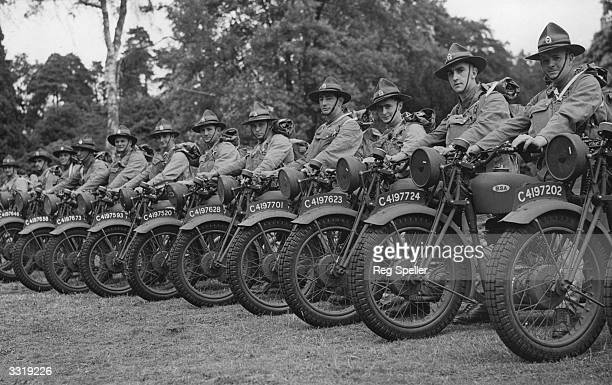 Men of the New Zealand Divisional Signals lined up on their motorcyles during despatch training at Aldershot