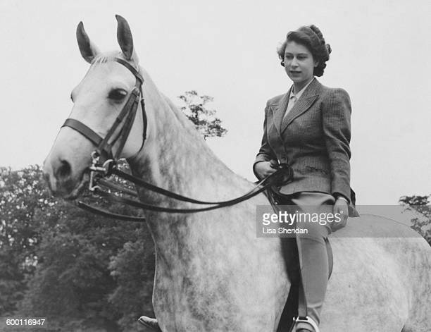 Princess Elizabeth riding in the grounds of the Royal Lodge Windsor