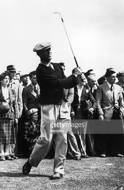 American golfer Ben Hogan driving from the 2nd tee at the Carnoustie golf course during the British Open Golf Championship which he went on to win
