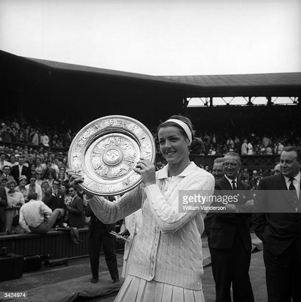 Australian tennis player Margaret Smith after winning the Ladies singles final at Wimbledon