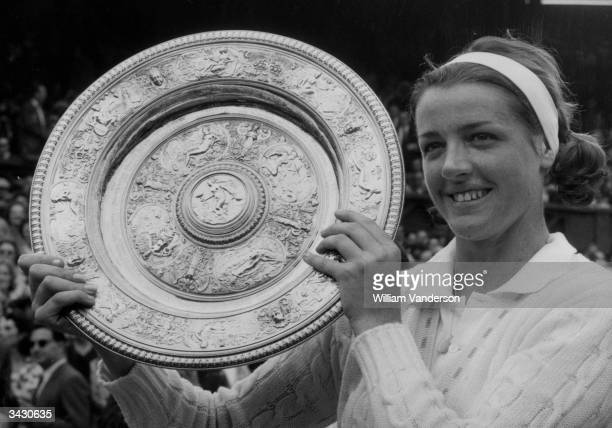 Margaret Smith the Ladies Wimbledon Champion for 1963 displaying her trophy She beat Billie Jean Moffitt in straight sets
