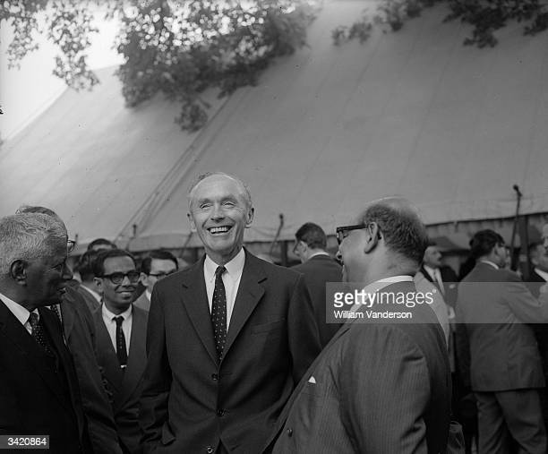 British Conservative Prime Minister Alec Douglas-Home welcoming delegates to the conference of commonwealth prime ministers at Marlborough House in...
