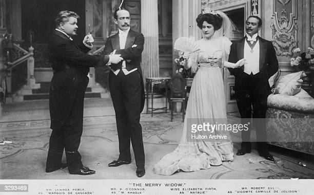 Scene from 'The Merry Widow' with three gentlemen and a lady.
