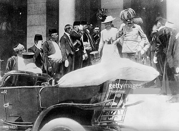 8th June 1914 Sarajevo Bosnia A photograph of Archduke Franz Ferdinand and his wife the Duchess of Hohenberg taken as they were leaving the town hall...