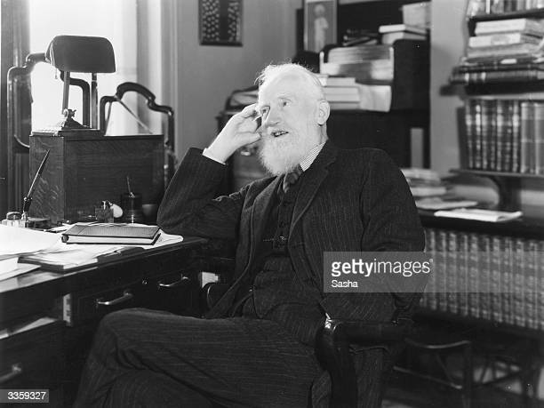 Irish dramatist George Bernard Shaw at his flat in London He was also a critic and novelist and early member of the socialist Fabian Society