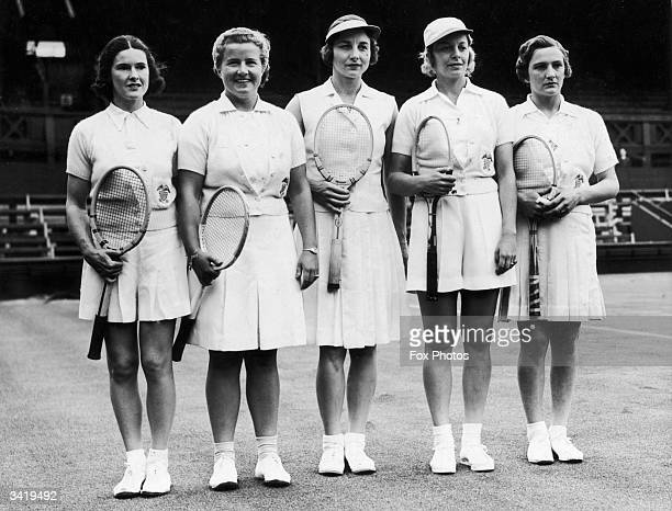 Tha American Wightman Cup team at Wimbledon Sarah Fabyan Miss Bundy Helen Wills Moody and Alice Marble