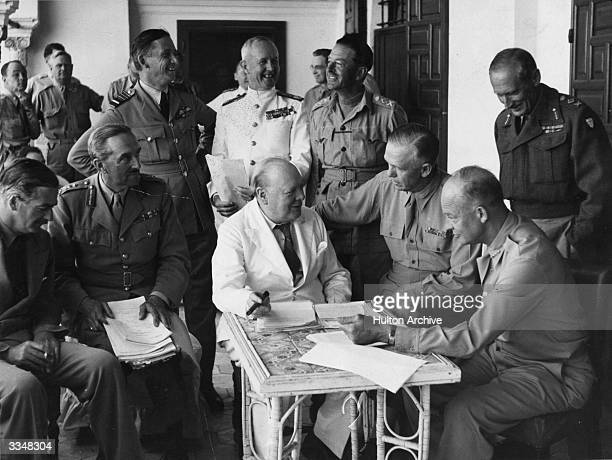 A conference at Allied Forces headquarters in North Africa British Foreign Secretary Anthony Eden Alan Brooke Air Chief Marshal Tedder Admiral Sir...