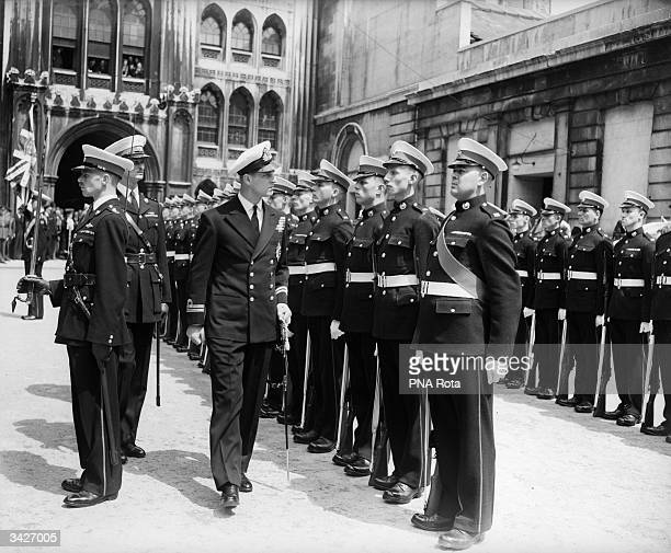 Prince Philip the Duke of Edinburgh inspects a Guard of Honour of Royal Marines at the Guildhall Yard where he will receive the Freedom of the City...