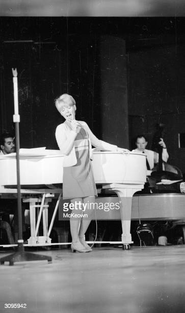 British entertainer Petula Clark rehearsing at the Savoy Hotel London
