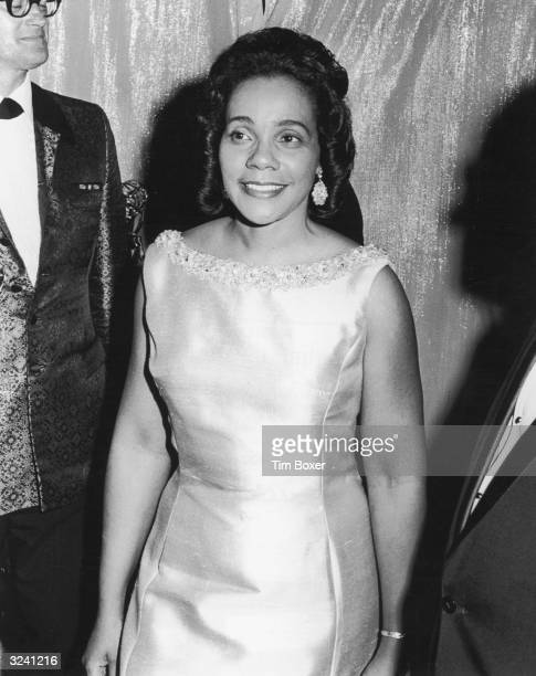 Civic rights leader Coretta Scott King wearing an evening gown smiles at an Emmy Awards ceremony New York City King presented awards in the news...