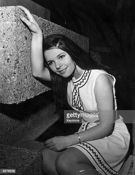 Pop singer Dana who won the 1970 Eurovision song contest with 'All Kinds of Everything' sits on her hotel steps during a visit to Madrid She is in...