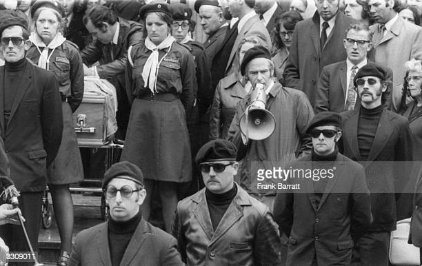 Brendan Magill, leader of the Sinn Fein in Britain, making a speech after the funeral mass for Michael Gaughan, a convicted armed robber who died...