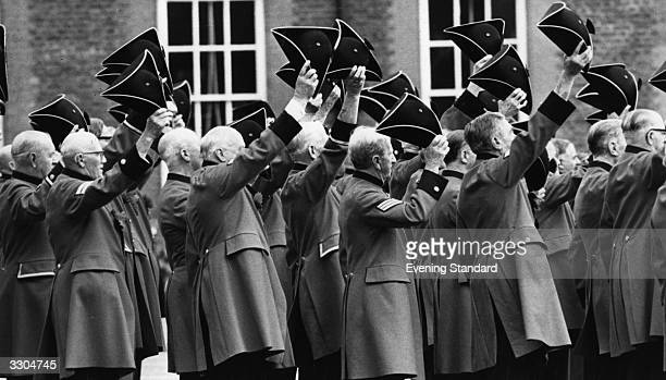 Chelsea pensioners during a Founder's Day parade in London