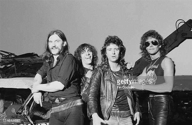 British rock group Motorhead posed at Chelsea Metals scrapyard in Pimlico London on 8th June 1984 Left to Right Lemmy Mick 'Wurzel' Burston Phil...