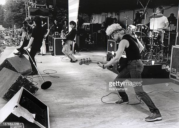 8th JUNE: Irish rock band U2 perform live on stage at PinkPop festival in Damen Sportpark, Geleen, Netherlands on 8th June 1981. Left to right: Bono,...