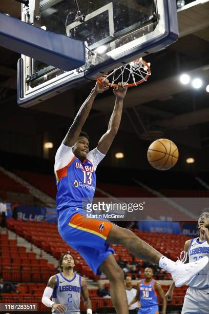 8th: Justin Patton, #13, of the Oklahoma City Blue dunks the ball against the Texas Legends during a NBA G-League game on December 7th, 2019 at the...