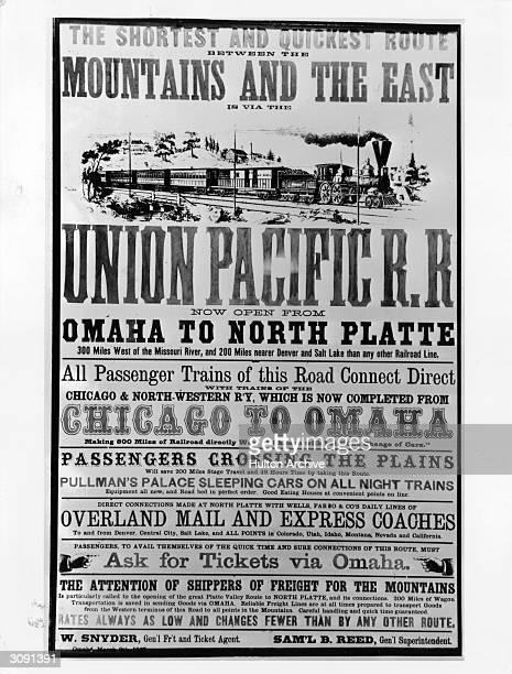 A poster advertising the Union Pacific Railroad 'now open from Omaha to North Platte'