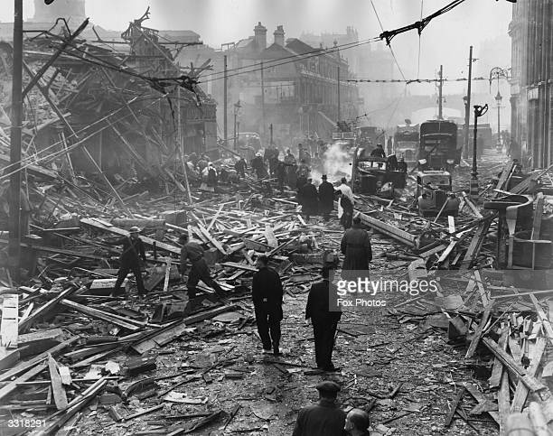 The scene in Farringdon Road London after a V2 rocket had fallen in daylight on the Central Markets