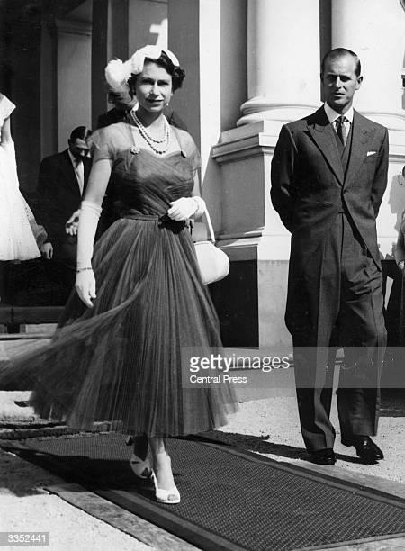 Queen Elizabeth II and Prince Philip Duke of Edinburgh attending a garden party in Melbourne Australia
