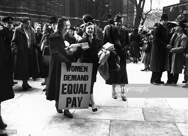 Women MPs after visiting the House of Commons with a petition of 80000 signatures Left to right Irene Ward Barbara Castle and Dr Edith Summerskill MP...